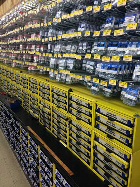 Fasteners, nuts and bolts at O'Connor Lumber & Ace Hardware