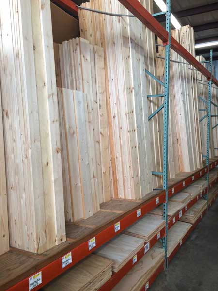 Pine and plywood boards at O'Connor Lumber & Ace Hardware